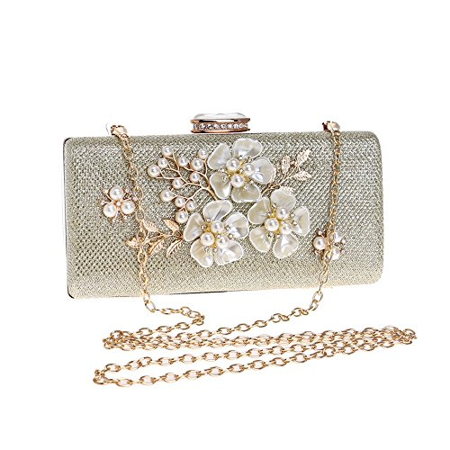 Femmes Main KYS Diamants Soirée Sacs À De Mariage Parti Shell À Main Sac d'embrayage Petit Fleur gold Sacs Paillettes rwTfExTY