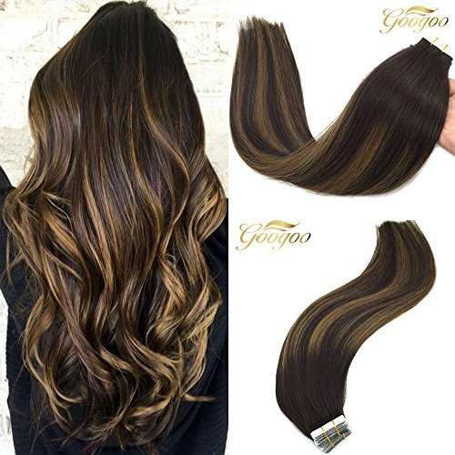 Googoo 20inch Tape in Remy Hair Extensions Ombre Dark Brown