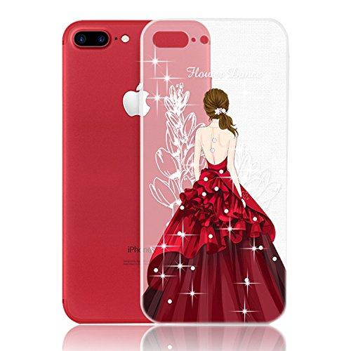 For iPhone 7 Plus Case, Vandot Beautiful Dress Girl Clear TPU Soft Case Rubber Silicone Skin Cover for iPhone 7 5.5 inch - (Beautiful Girl With Dress)