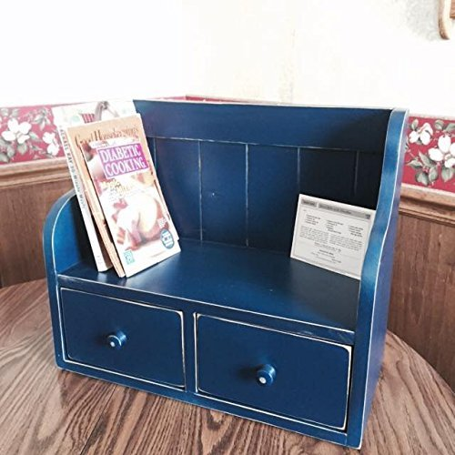 Cook Book Recipe Display Rack Counter Top Shelf Recipe Drawers Country Primtive Navy Blue