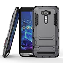 DWay ZenFone 2 Laser ZE551KL Armor Case Hybrid Design with Stand Feature 2 In 1 Combo Dual Layer Detachable Protective Shell Phone Hard Back Case Cover for ASUS ZenFone 2 Laser (ZE550KL/ZE551KL) 5.5inches (Gray)