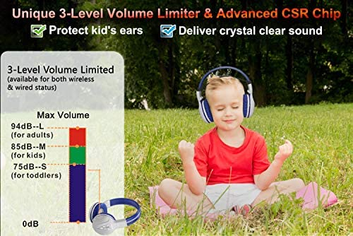 SIMOLIO Wireless Headphones for Teens, Kids Bluetooth Headphone with 75dB 85dB 94dB Volume Limited, Kids Wireless Headsets with Mic, Bluetooth Boys Headphones with Hard case for School Grey
