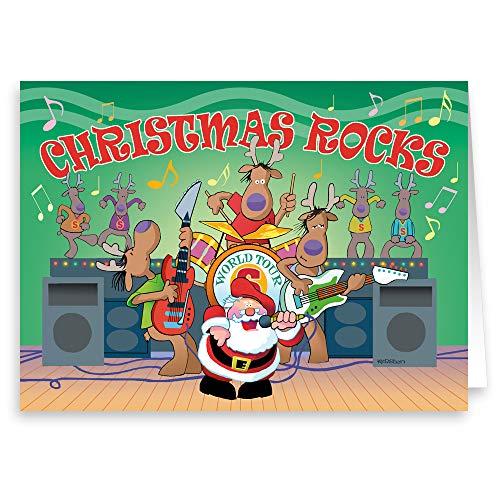 Santa Rock Band- Funny Christmas Card - 18 Boxed Cards & Envelopes - Music Theme Christmas Card (Christmas Theme Music Cards)