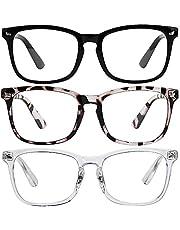 maxgoods Blue Light Blocking Glasses - 3Pack Computer Gaming Glasses Square Frame Eyeglasses, Blue Light Blocker Glasses for Women & Men, Anti Eye Eyestrain Reading Gaming Glasses Non Prescription