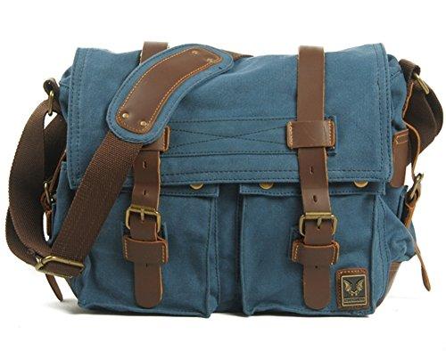 Vintage HYSH Travel bandoulière décontractés pour Toile Hommes à Sacs Sacs à d'ordinateur Crazy Sacs pour Hommes Horseskin Blue bandoulière Sacs Sacs 6qwH6UrZpS
