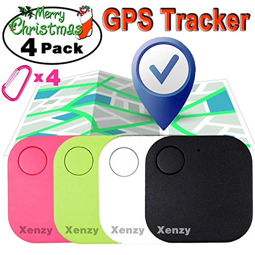 Smart Key Finder Locator, GPS Tracker, Square Anti Lost Wallet Phone Finder Pet Dog Cat Kids Luggage Tracker Sensor Device for Keychain Mini Alarm Wireless Seeker Selfie Remote Shutter Locator 4 Pack