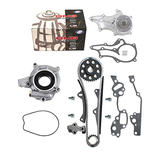 (New TK10120WPOP Timing Chain Kit (2 Heavy Duty Metal Guide Rails & Bolts), Water Pump, & Oil Pump for Toyota 2.4L Pickup 22RE 22REC 85-95)