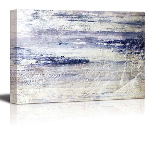 wall26 Beautiful View of Rows of Snowed In Mountains with Blue Textured Stripes Over It - Canvas Art Home Decor - 32x48 inches ()