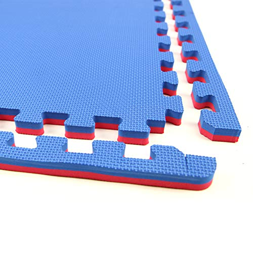 - IncStores - Jumbo Soft Interlocking Foam Tiles - Perfect for Martial Arts, MMA, Lightweight Home Gyms, p90x, Gymnastics, Cardio, and Exercise (Red/Blue, 24-3'x3' Tiles (216 Sqft))