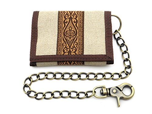Hempy's Hemp Tri-fold Chain Wallet with Tribal Trim – Natural – One (Hemp Tri Fold Wallet)