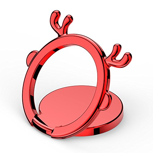 Price comparison product image Finger Ring Stand,  Reindeer Cell Phone Ring Stand Holder Kickstand, 180° Flip&360° Rotation Universal Smart Phone iPhone Ring for iPhone X 8 8 Plus,  Samsung [Supports Magnetic Car Mount] (Red)