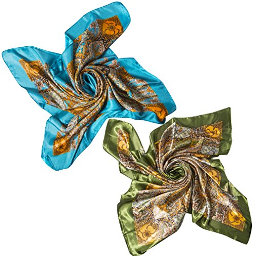 (2 PCS Women's Large Satin Square Silk Feeling Hair Scarf 35 x 35 inches)