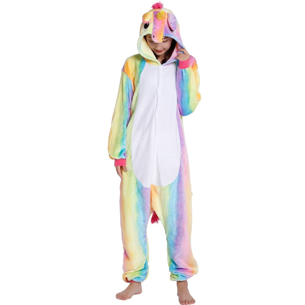 4525f8242236b QUMAO Pyjama Licorne Animaux Adulte Unisexe Aminal Pyjamas Combinaison  Ensemble Déguisement Costume Carnaval Cosplay Bleu /