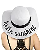 C.C Women's Paper Weaved Crushable Beach Embroidered Quote Floppy Brim Sun Hat, Hello Sunshine in White