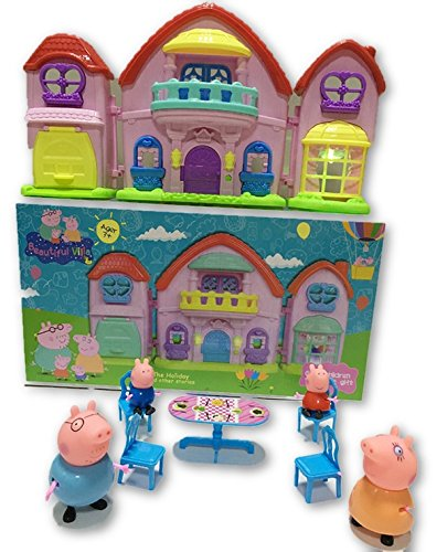Peppa Pig Holiday Villa Deluxe Doll House Playset With Mini Figures Peppa, George, Mummy and Daddy Pig Mini Figures (Figure Mummy Mini)
