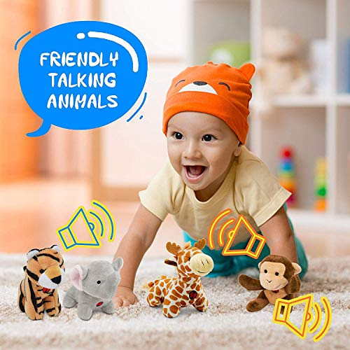 Gift for 1 Year Old Educational Plush Toy Talking Animal Set (5 Pcs – Plays Real Sounds) with Carrier for Kids | Stuffed…