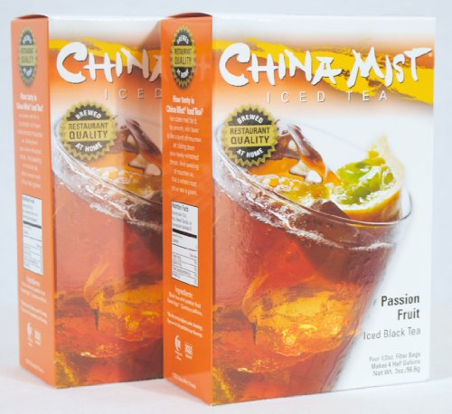 China Mist Iced Tea Brew at Home Iced Tea, Passion Fruit, 2 Ounce Packages (Pack of 2) 1 Includes 2 Boxes China Mist Passion Fruit Iced Tea Each box contains 4 filters bags (a total of 8 bags) Each filter bag makes 1/2 gallon of tea