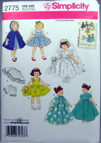 """Simplicity Sewing Pattern 2775 Wardrobe For 8"""" Dolls"""