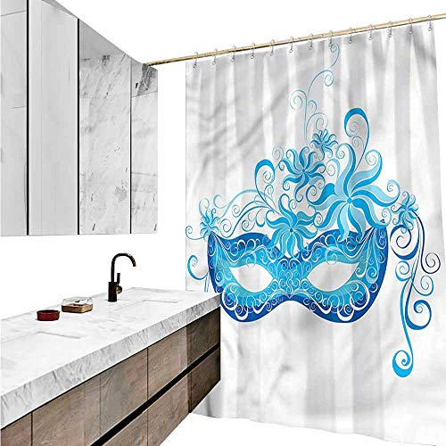 Jiahong Pan Masquerade,Colorful Chic Shower Curtain Halloween Night Mask Shower Hooks are Included,Multicolor,W72 xL72