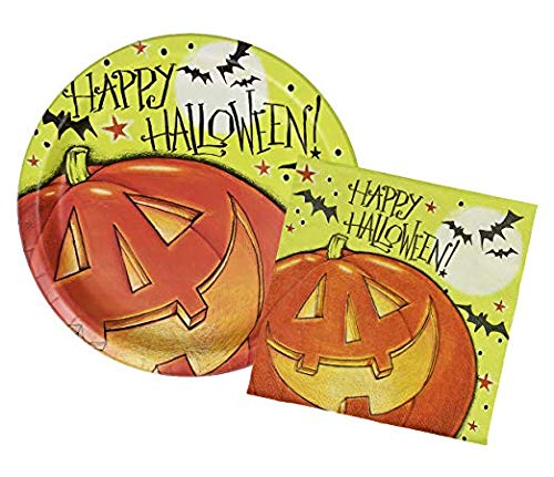 Pumpkin Disposable Dinnerware Set - Serves 16 - Halloween Party Supplies with Pumpkin and Bats for Kids, Includes Paper Plates and Napkins