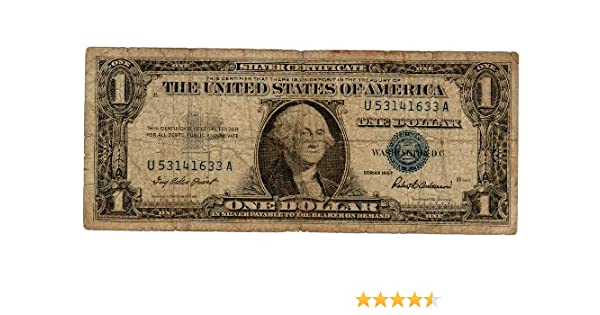 Amazon.com: Paper Money U.S. One Single $1 Silver Certificate, Blue ...