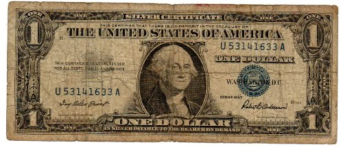 Paper Money U.S. One Single $1 Silver Certificate, Blue Seal, Series 1957, S/N - Certificate Silver