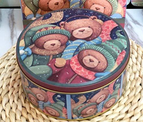 VEA-DE Storage Box multiuso Biscottiera rotonda con decorazioni natalizie serie Candy Box (M)