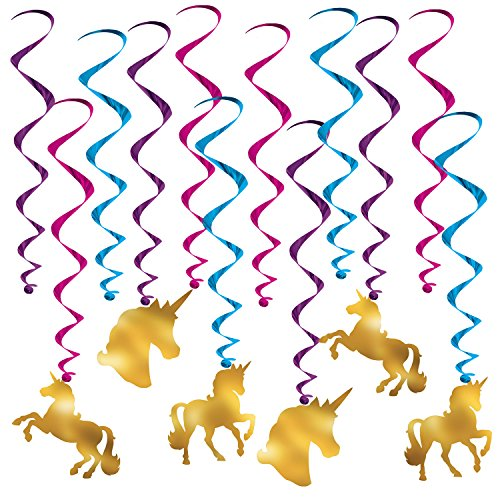 Beistle Unicorn Whirls | Birthday Party Decorations (3-Pack) by Beistle