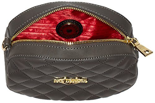 Love Moschino Borsa Nappa Pu Trapuntata Grigio - Pochette da giorno Donna, Schwarz (Black), 15x20x6 cm (L x H D)