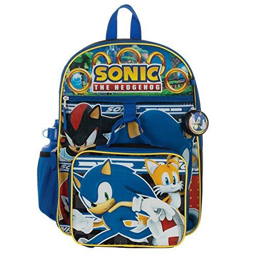 Hedgehog For Kids - Kids Sonic Backpack 5-Piece Combo School