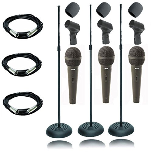 On Stage 3 Pack MS7201B Round Base Microphone Stand With 3 CAD12 Handheld Dynamic Cardioid Microphones + 3 XLR Microphone Cables 20ft + 3 Foam (Ms7201b Round Base)