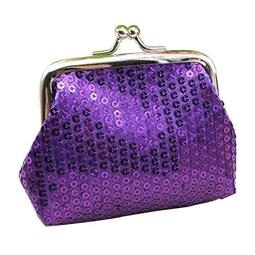 Women's Sparkly Bling Coin Purses Mini Sequin For Girl Fashion Girls Coin Purses bags (purple) ()