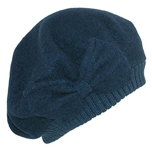 Pia Rossini Women's Wool Slouchy Beret with Oversized Bow, Navy