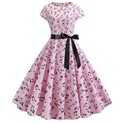Women's Vintage Dresses 1950s Retro Boatneck Cap-Sleeve Printing Swing Cocktail Dress with Belt (L, Pink)