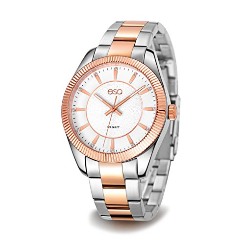 ESQ Men's Dress Analog-Quartz Watch with Stainless-Steel Strap, Two Tone, 20 (Model: ()