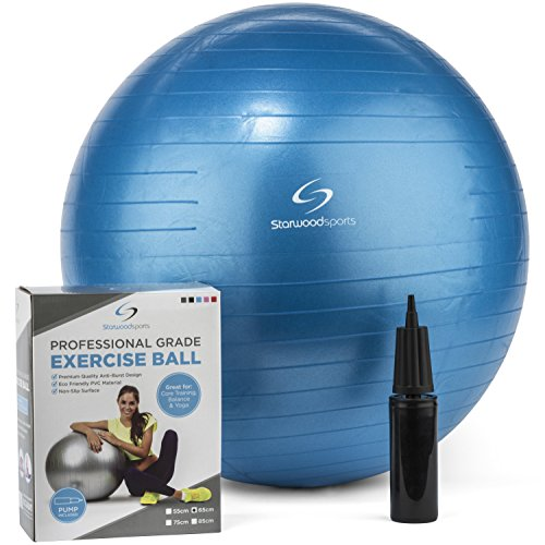 Exercise Ball - Yoga Swiss Ball with Hand Pump - Gym Quality Fitness Ball for Women and Men - Lifetime Guarantee (Blue 65 cm)