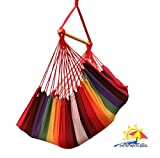 Image of Patio Watcher Large Brazilian Hammock Chair Rope Hanging Swing Set for Yard, Porch, Indoor, Outdoor, Patio, Rainbow Color Stripes