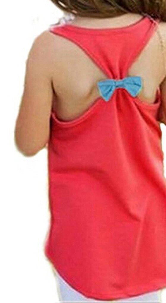 Girls Kids Anchor Vest Sleeveless Summer Clothes Cotton Tank Tops Bowknot T-Shirt