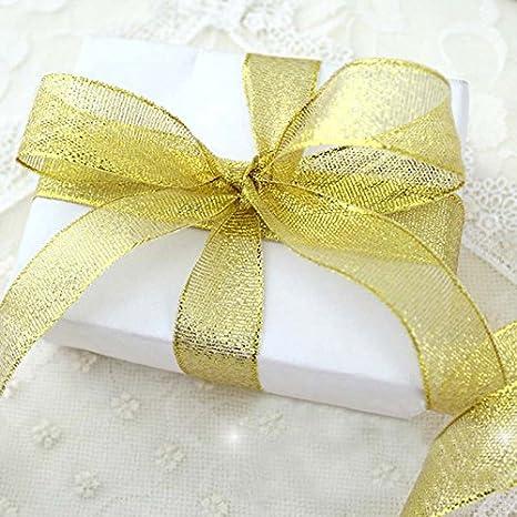 Dorado Cinta de Organza de Sat/én Dorado de Fibra de poli/éster para Lazo 0.6cm*22m Vi.yo casa Decoraci/ón de Fiesta de Navidad Fibra de poli/éster /árbol de Navidad