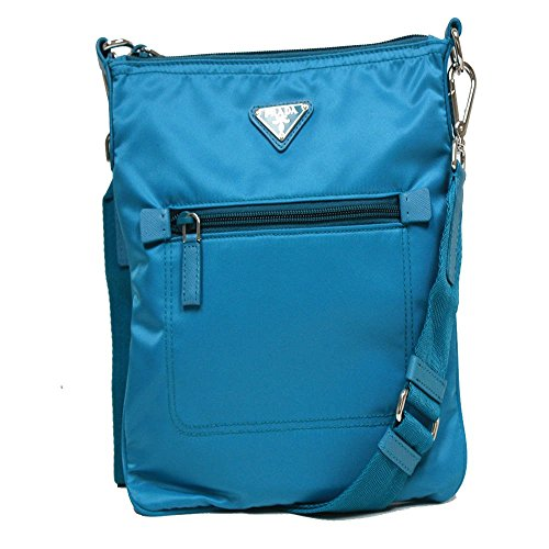 Prada Turquoise Blue Tessuto Nylon Leather Cross Body Messenger Bag BT0716 (Messenger Prada Tessuto)