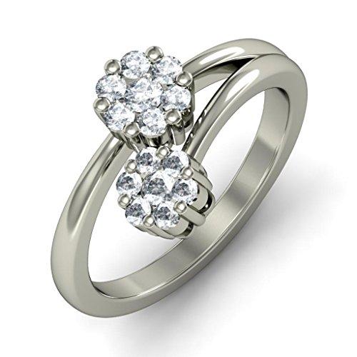 14K Or blanc, 0.39carat Diamant Taille ronde (IJ | SI) en diamant