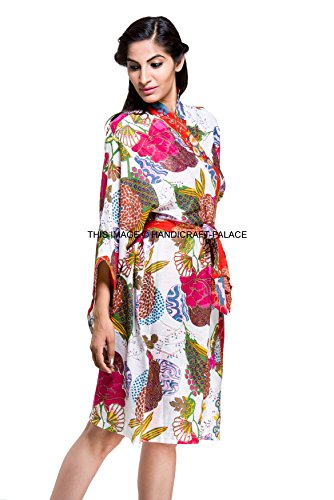 (Indian Floral Print Gown Cotton Kimono Robe Hippie Bath Robe Intimate Nightwear Women's Kimono)