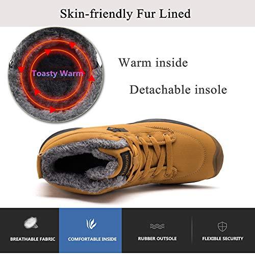 Lacets D'hiver Bottes Hommes Plein Trekking Doubles Impermables De Air En Chaussures Antidrapant Femmes Fourrure Pour Yooeen Jaune Randonne qawp00