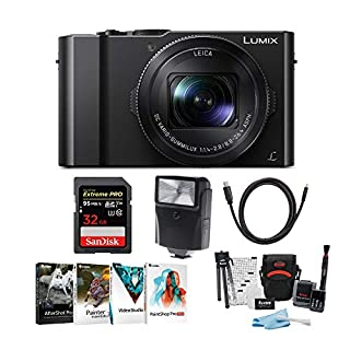 Panasonic LUMIX 4K Digital Camera Bundle with 32GB SD Card, Corel Software Suite, Digital Slave Flash, HDMI to Micro HDMI Cable and Accessory Bundle (10 Items)