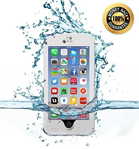 SZJJX Shockproof Waterproof Snowproof Dirtproof Sweatproof Protection Cover Case for Iphone 6/6s 4.7 inch with Finger Print ID and Built in Kickstand (White) by JJX-TECH