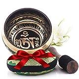 Silent Mind ~ Tibetan Singing Bowl Set ~ Om Mani Padme Hum ~ Great For Mindfulness Meditation, Relaxation, Stress & Anxiety Relief, Chakra Healing, Yoga, Zen ~ Perfect Spiritual Gift