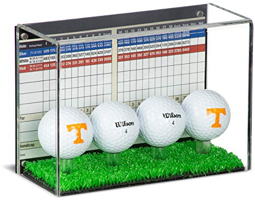 Deluxe Clear Acrylic Four(4) Golf Ball Display Case with Black Back and Turf Floor (A045C-TB)
