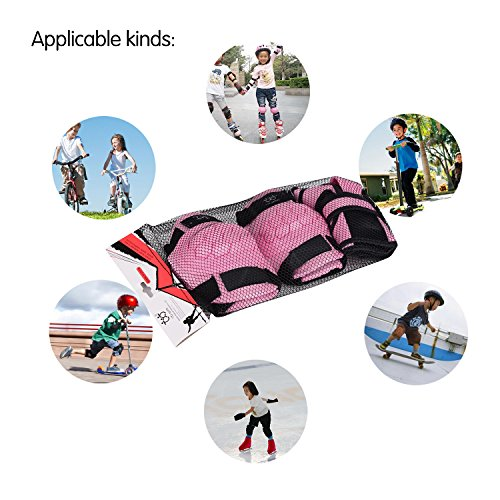 KUKOME-SHOP Kids Children Roller Skating Skateboard BMX Scooter Cycling Protective Gear Pads (Knee pads+Elbow pads+wrist pads) (Pink, S) by KUKOME-SHOP (Image #3)