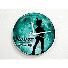 Peter Pan - Never Grow Up - Teal Full Moon - Universe Stars Space Galaxy Solar Planet - Custom Name Wall Clock