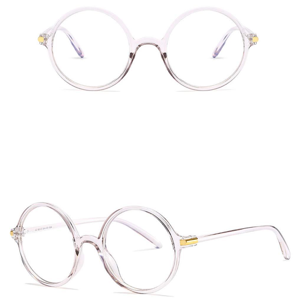 CapsA Retro Flat Mirror Blocking Glasses for Women Men Round Frame Nerd Eyeglasses Frame Anti Blue Ray Glasses